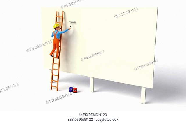 3d rendered illustration of Worker is painting