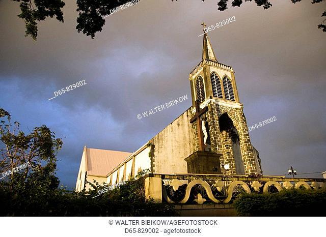 Town church, Saint-Andre, Cirque de Salazie, Reunion island, France
