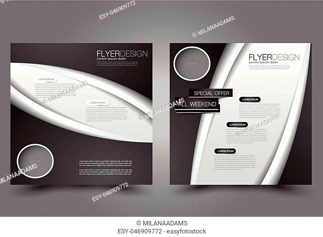 Square flyer template. Brochure design. Annual report poster. Leaflet cover. For business and education. Vector illustration. Black and white color