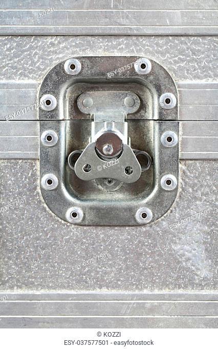 Detailed shot of lock of metallic box