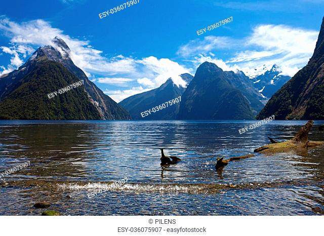 Milford Sound and Mitre Peak in Fjordland National Park Southern Alps New Zealand