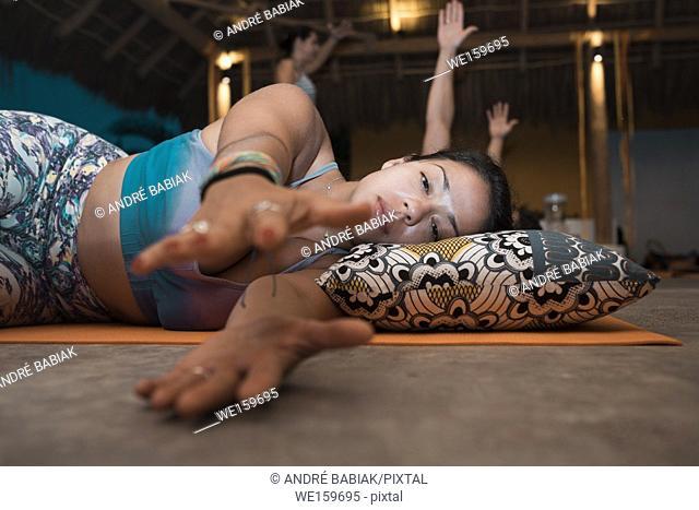 People meditating and practicing yoga. Yoga retreat Puerto Vallarta - Mismaloya, Mexico
