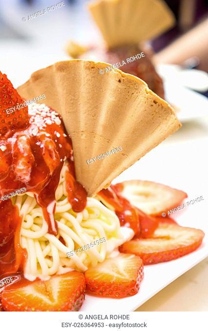 German ice cream made to look like a plate of spaghetti