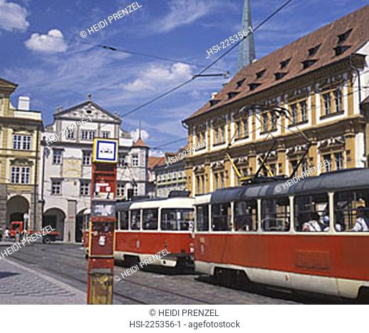 travel, Europe, Czech Republic, Prague, tram, building, buildings, architecture, transport, road, cables, structure, vehicle, public, municipal, city, capital
