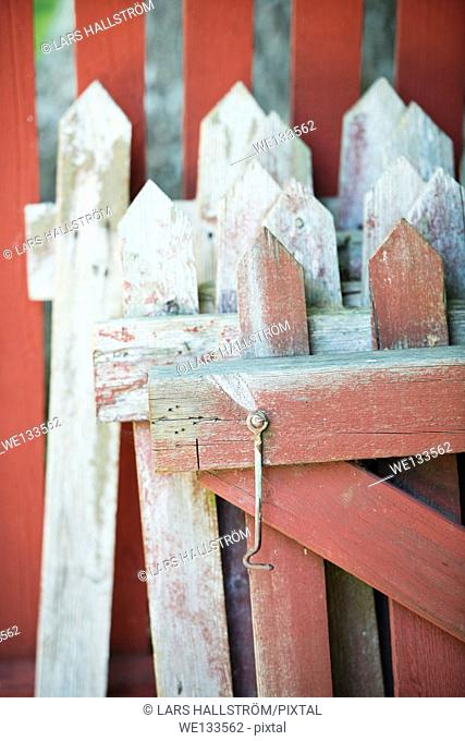 Home improvement, wooden fence stacked for repair and new paint