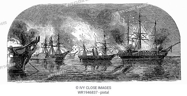 This is the scene at Gosport Navy Yard in Norfolf, Virginia, on Sunday morning, April 21, 1861, just after Union Captain Hiram Paulding gave the signal to burn...
