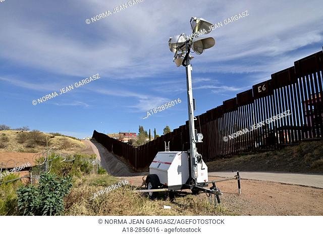 A wall separates Nogales, Arizona, USA, (left), from Nogales, Sonora, Mexico at the international border