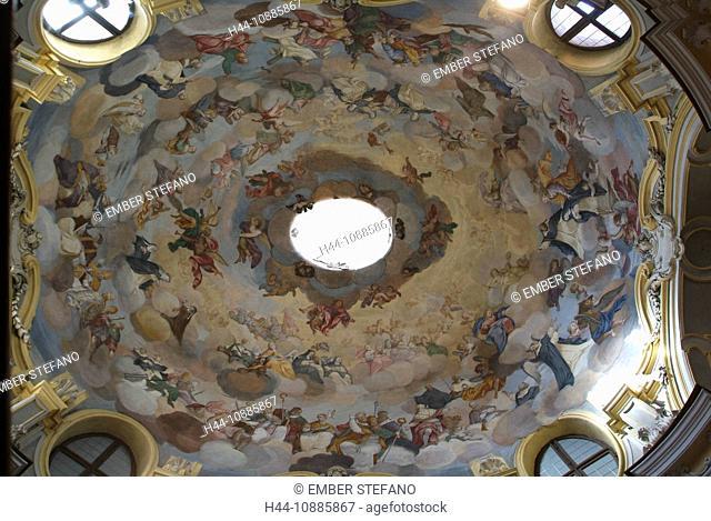 Italy, Alba, Piedmont, Italy, church, dome, Chiesa della Maddalena, paints