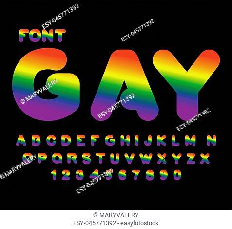 Gay font. Rainbow letters. LGBT alphabet abc