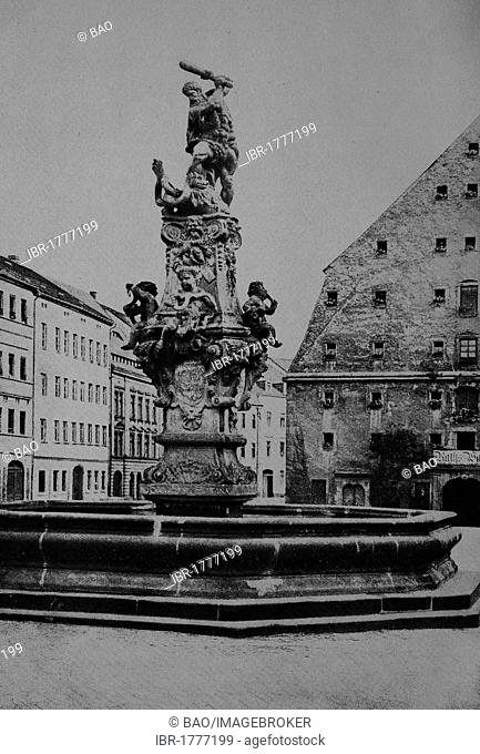 Ratswaage building and Herkulesbrunnen fountain, Zittau, Saxony, Germany, Europe, historical photo about 1899