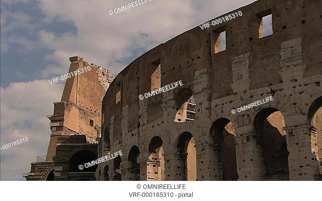 Close up of outer walks of Rome Colosseum