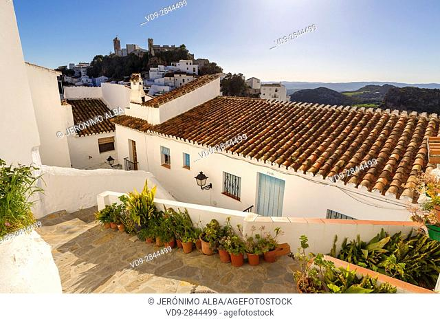 White village of Casares, Malaga province Costa del Sol. Andalusia Southern Spain, Europe
