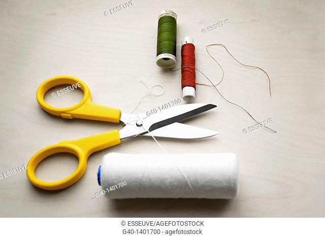 Dressmaking and Scissors and Thread