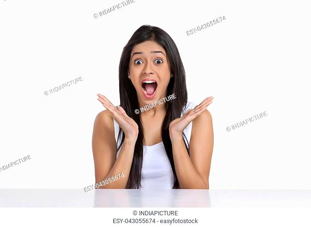 Portrait of girl surprised