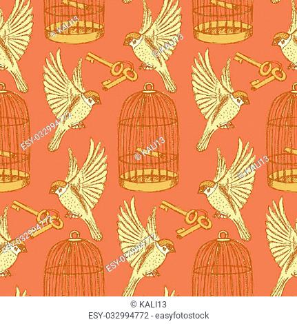Sketch bird freedom set in vintage style, vector seamless pattern