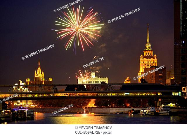 View of fireworks above White House and Bagration bridge at night, Moscow, Russia