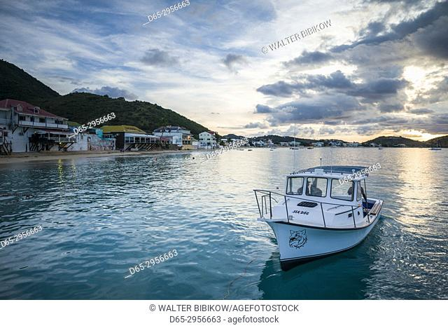 French West Indies, St-Martin, Grand Case, Gourmet Capital of the Caribbean, waterfront, dusk