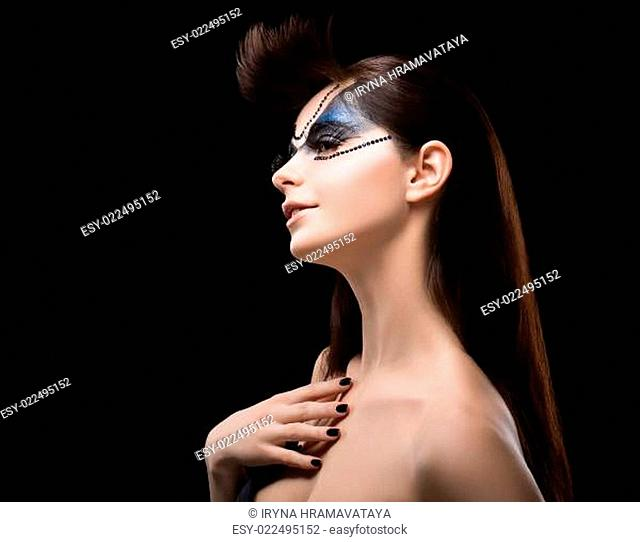 Performance. Eccentric Brunette with Blue Shine Mask on her Face. Art