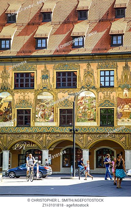Painted frontages of buildings in the medieval city of Ulm, Germany