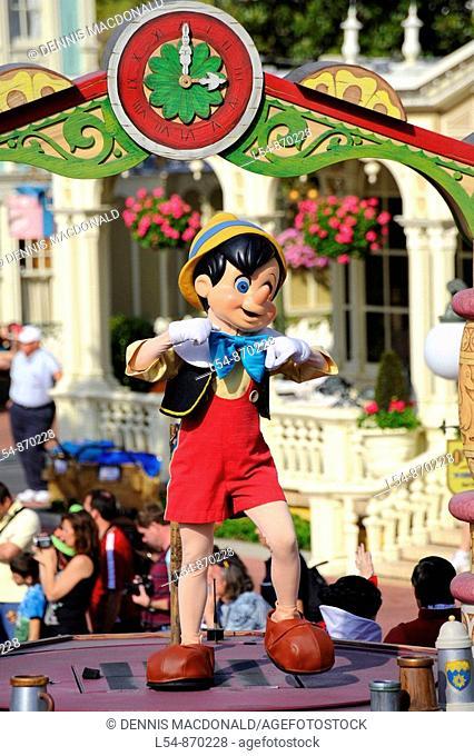 Pinnochio on Float in Parade at Walt Disney Magic Kingdom Theme Park Orlando Florida Central