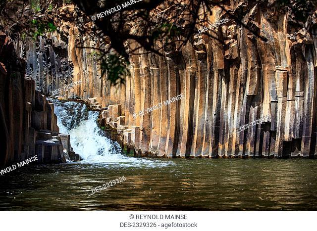 Tranquil scene of columnar basalt, Yehudiya Nature Reserve; Israel
