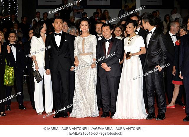 The cast with the director Jia Zhang-Ke and actors and actresses, Zhao Tao, Chang Sylvia, Zhang Yi, Liang Jingdong, Dong Zijang during the red carpet of film '...