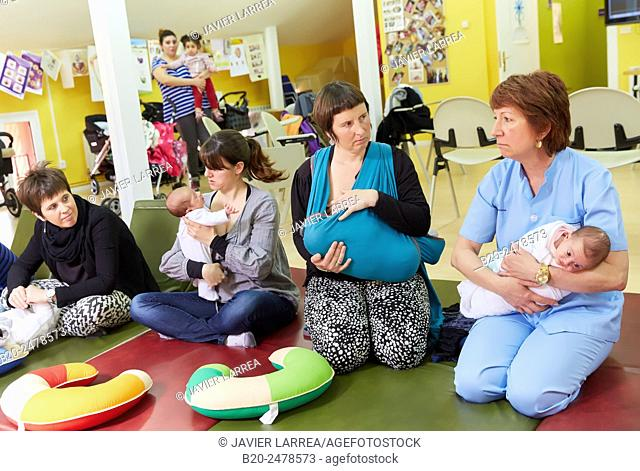 Midwife mothers and babies, breastfeeding education, Ambulatory Oiartzun, Gipuzkoa, Basque Country, Spain