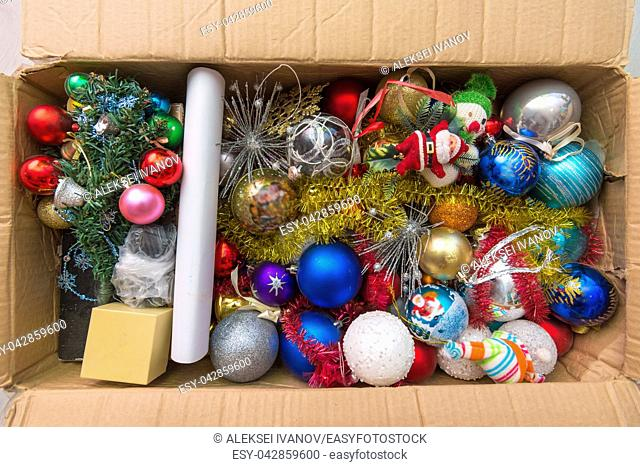 Christmas tree toys in the box