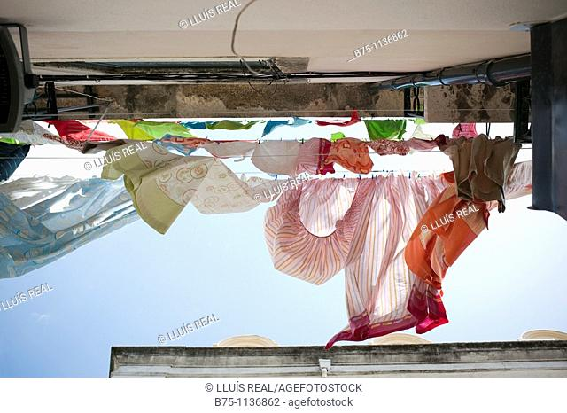 Lisbon, Portugal, uptown, clothes hanging