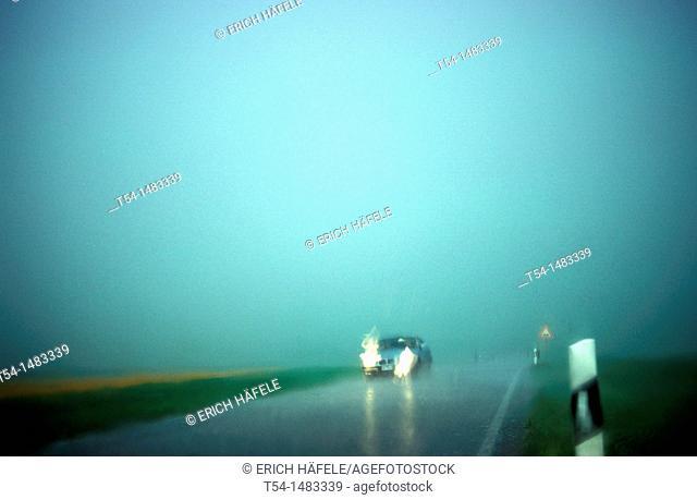 Heavy rain during the car ride