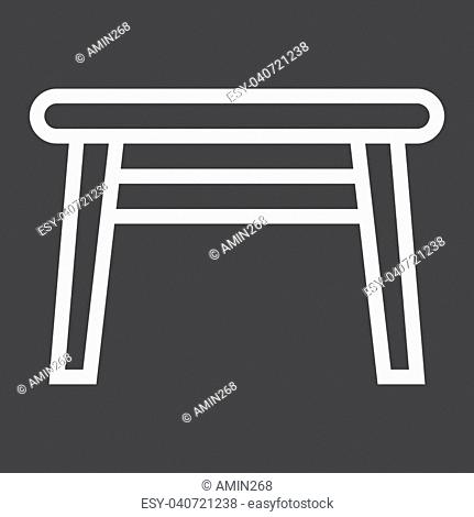 Table line icon, Furniture and interior element, vector graphics, a linear pattern on a black background, eps 10