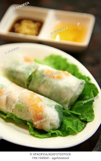 Fresh spring rolls inside Thanh Ky, A vietnamese restaurant specializing in clear broth beef noodles or pho on Yongkang Street in Taipei
