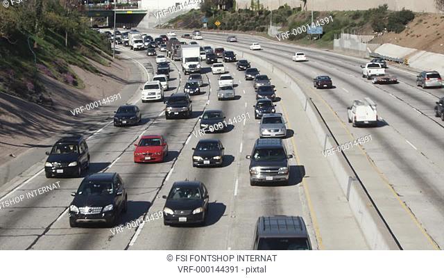 WS, T/L of traffic on freeway, Los Angeles, California, USA