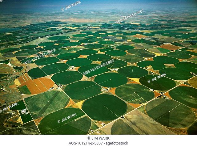 Agriculture - Aerial view of center pivot irrigated circular agricultural fields / CO - nr. Greeley