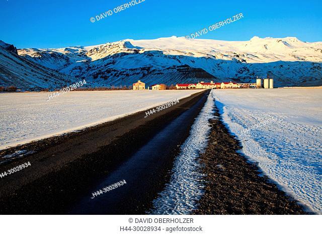 Farmhouses, mountains, Europe, Eyjafjallajökull, Gestastofa, Island, sceneries, agriculture, light mood, snow, volcano, volcano island, winter