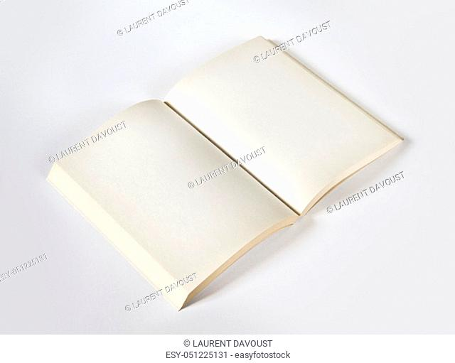 Old open blank book mockup, isolated on grey. Top view