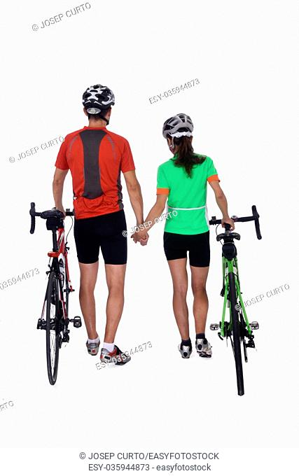 Couple with bike isolated on white,