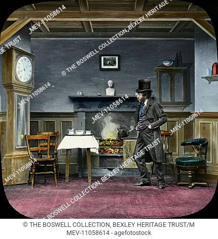 (He entered the house) Entering the house - man entering room , fire in grate , grandfather clock. Part of Box 52 Boswell collection. Nursery Rhymes