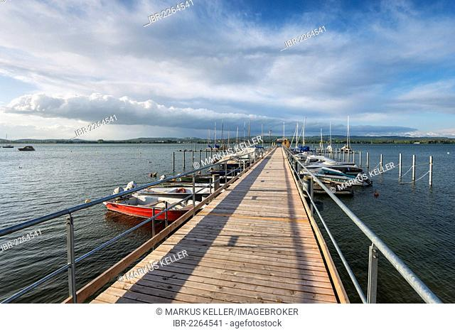 Pier in the harbour of Iznang, Baden-Wuerttemberg, Germany, Europe