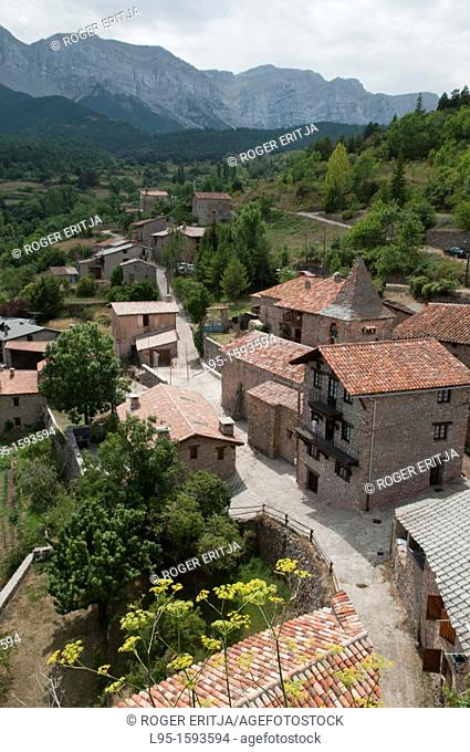 Scenic village of Quer Foradat, Cerdanya valley, Spain; located in the slopes of the Cadí-Moixeró mountain range and nature reserve