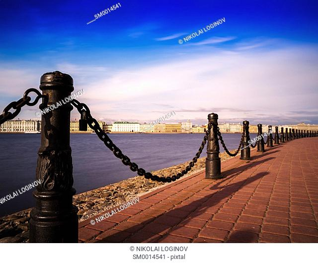 Horizontal vivid Saint Peterburg quay chain fence background