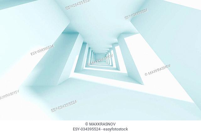 3d Illustration of Blue Futuristic Architecture Background