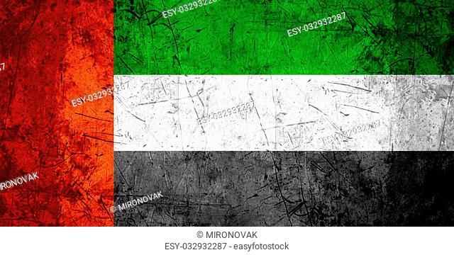flag of United Arab Emirates or United Arabian Emirates banner on rough pattern metal background