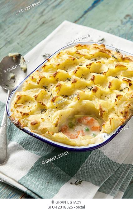 Fisherman's pie topped with mashed potato