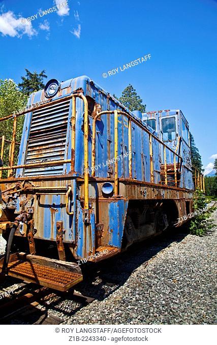 Rusting locomotive at the Squamish Rail Museum, Canada