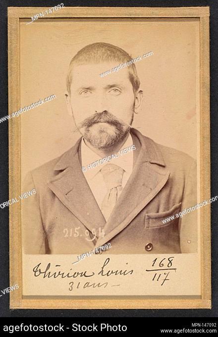Thirion. Louis, Joseph. 31 ans, né à Autrey (Vosges). Journaliste. Anarchiste. 4/3/94. Artist: Alphonse Bertillon (French