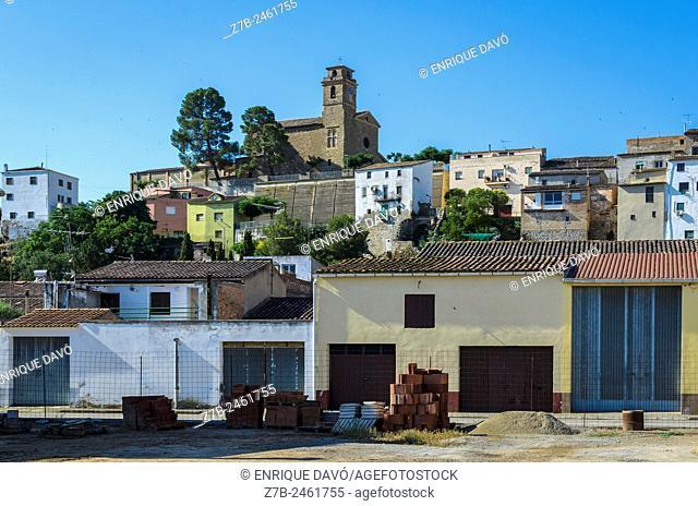 A rural street view in Sentiu of Sio, Lerida province, Catalonia, Spain