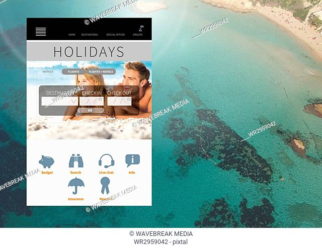 Holiday break App Interface with sea