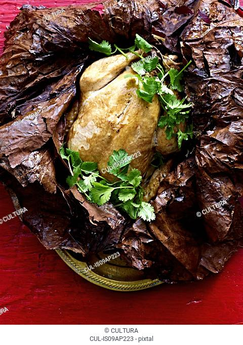 Still life of Beggars Chicken wrapped in lotus leaf with coriander garnish