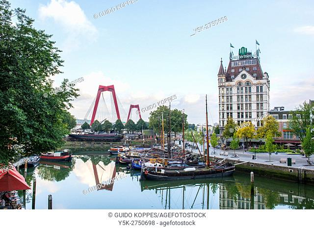 Rotterdam, Netherlands. Daytime view on Oude Haven - Old Harbour with historical ships and buildings